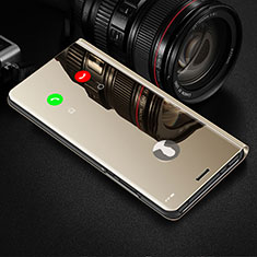 Custodia Portafoglio In Pelle Cover con Supporto Laterale Specchio Cover L02 per Motorola Moto G8 Plus Oro