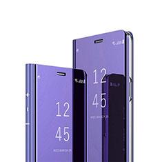 Custodia Portafoglio In Pelle Cover con Supporto Laterale Specchio Cover L02 per Motorola Moto G9 Plus Viola