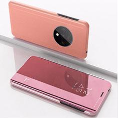 Custodia Portafoglio In Pelle Cover con Supporto Laterale Specchio Cover L02 per OnePlus 7T Oro Rosa