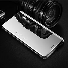 Custodia Portafoglio In Pelle Cover con Supporto Laterale Specchio Cover L02 per OnePlus 8 Argento