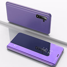 Custodia Portafoglio In Pelle Cover con Supporto Laterale Specchio Cover L02 per Samsung Galaxy Note 10 Blu