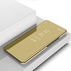 Custodia Portafoglio In Pelle Cover con Supporto Laterale Specchio Cover L02 per Samsung Galaxy Note 10 Lite Oro