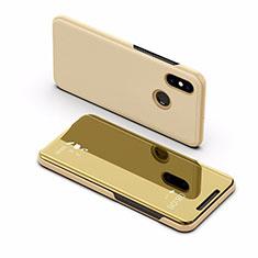 Custodia Portafoglio In Pelle Cover con Supporto Laterale Specchio Cover L02 per Xiaomi Mi Max 3 Oro