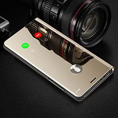 Custodia Portafoglio In Pelle Cover con Supporto Laterale Specchio Cover L03 per Samsung Galaxy A81 Oro