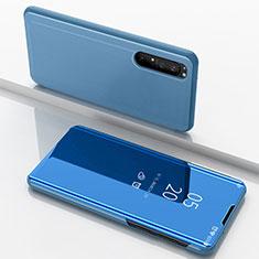 Custodia Portafoglio In Pelle Cover con Supporto Laterale Specchio Cover L03 per Sony Xperia 1 II Blu