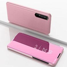Custodia Portafoglio In Pelle Cover con Supporto Laterale Specchio Cover L03 per Sony Xperia 1 II Oro Rosa