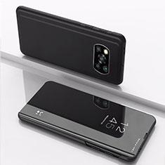 Custodia Portafoglio In Pelle Cover con Supporto Laterale Specchio Cover L03 per Xiaomi Poco X3 NFC Nero
