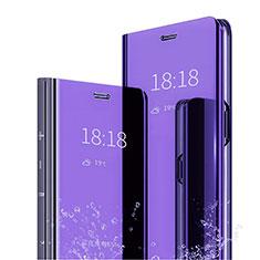 Custodia Portafoglio In Pelle Cover con Supporto Laterale Specchio Cover L04 per Huawei Mate 20 Pro Blu