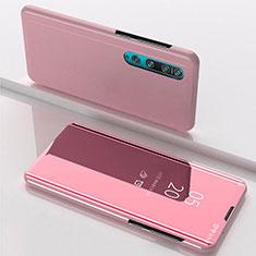 Custodia Portafoglio In Pelle Cover con Supporto Laterale Specchio Cover L04 per Xiaomi Mi 10 Oro Rosa