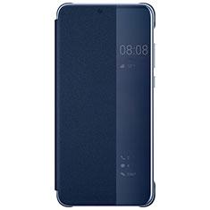 Custodia Portafoglio In Pelle Cover con Supporto Laterale Specchio Cover L05 per Huawei P20 Pro Blu