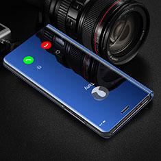 Custodia Portafoglio In Pelle Cover con Supporto Laterale Specchio Cover M01 per Huawei Honor 20 Pro Blu