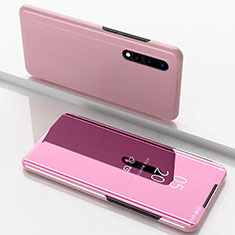 Custodia Portafoglio In Pelle Cover con Supporto Laterale Specchio Cover M01 per Samsung Galaxy A70S Oro Rosa