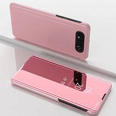 Custodia Portafoglio In Pelle Cover con Supporto Laterale Specchio Cover M01 per Samsung Galaxy A80 Oro Rosa