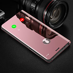 Custodia Portafoglio In Pelle Cover con Supporto Laterale Specchio Cover M02 per Huawei Honor 20 Lite Oro Rosa