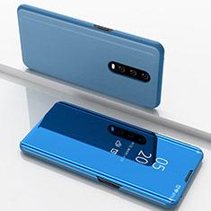 Custodia Portafoglio In Pelle Cover con Supporto Laterale Specchio Cover M02 per Oppo R17 Pro Blu