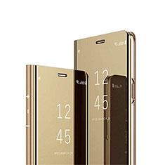Custodia Portafoglio In Pelle Cover con Supporto Laterale Specchio Cover M03 per Samsung Galaxy A70 Oro