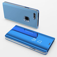 Custodia Portafoglio In Pelle Cover con Supporto Laterale Specchio Cover per Apple iPhone 7 Plus Blu