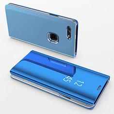 Custodia Portafoglio In Pelle Cover con Supporto Laterale Specchio Cover per Apple iPhone 8 Plus Blu