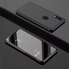 Custodia Portafoglio In Pelle Cover con Supporto Laterale Specchio Cover per Huawei Enjoy 9 Nero