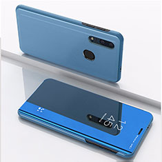 Custodia Portafoglio In Pelle Cover con Supporto Laterale Specchio Cover per Huawei Enjoy 9s Blu