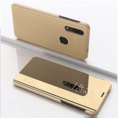 Custodia Portafoglio In Pelle Cover con Supporto Laterale Specchio Cover per Huawei Enjoy 9s Oro