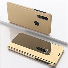 Custodia Portafoglio In Pelle Cover con Supporto Laterale Specchio Cover per Huawei Honor 20 Lite Oro