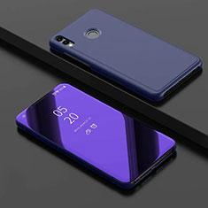Custodia Portafoglio In Pelle Cover con Supporto Laterale Specchio Cover per Huawei Honor View 10 Lite Blu