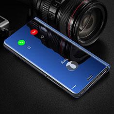 Custodia Portafoglio In Pelle Cover con Supporto Laterale Specchio Cover per Huawei Honor View 30 5G Blu