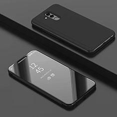 Custodia Portafoglio In Pelle Cover con Supporto Laterale Specchio Cover per Huawei Mate 20 Lite Nero
