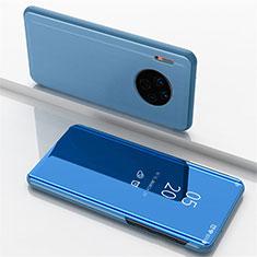 Custodia Portafoglio In Pelle Cover con Supporto Laterale Specchio Cover per Huawei Mate 30 Blu