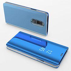 Custodia Portafoglio In Pelle Cover con Supporto Laterale Specchio Cover per Huawei Nova 2i Blu