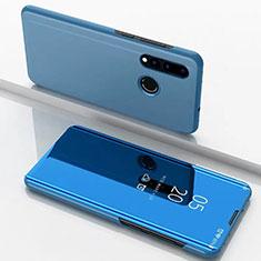 Custodia Portafoglio In Pelle Cover con Supporto Laterale Specchio Cover per Huawei Nova 4e Blu