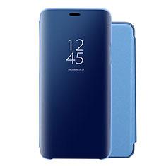 Custodia Portafoglio In Pelle Cover con Supporto Laterale Specchio Cover per Huawei Nova 5 Blu