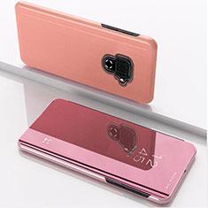Custodia Portafoglio In Pelle Cover con Supporto Laterale Specchio Cover per Huawei Nova 5i Pro Oro Rosa