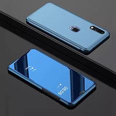 Custodia Portafoglio In Pelle Cover con Supporto Laterale Specchio Cover per Huawei Y7 Pro (2019) Blu