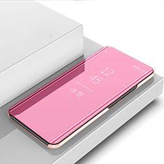 Custodia Portafoglio In Pelle Cover con Supporto Laterale Specchio Cover per Huawei Y7a Oro Rosa