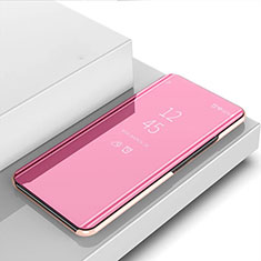 Custodia Portafoglio In Pelle Cover con Supporto Laterale Specchio Cover per Huawei Y7p Oro Rosa