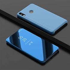 Custodia Portafoglio In Pelle Cover con Supporto Laterale Specchio Cover per Huawei Y9 (2019) Blu
