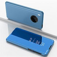 Custodia Portafoglio In Pelle Cover con Supporto Laterale Specchio Cover per Huawei Y9a Blu