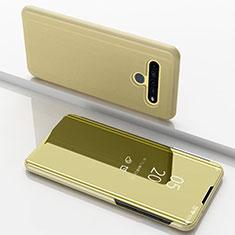 Custodia Portafoglio In Pelle Cover con Supporto Laterale Specchio Cover per LG K61 Oro