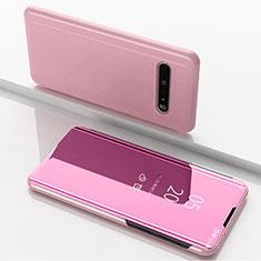 Custodia Portafoglio In Pelle Cover con Supporto Laterale Specchio Cover per LG V60 ThinQ 5G Oro Rosa