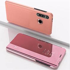 Custodia Portafoglio In Pelle Cover con Supporto Laterale Specchio Cover per Motorola Moto G8 Plus Oro Rosa
