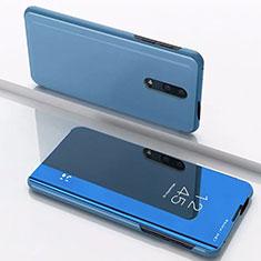 Custodia Portafoglio In Pelle Cover con Supporto Laterale Specchio Cover per OnePlus 7 Blu