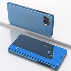 Custodia Portafoglio In Pelle Cover con Supporto Laterale Specchio Cover per Oppo F17 Pro Blu