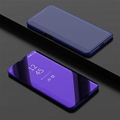 Custodia Portafoglio In Pelle Cover con Supporto Laterale Specchio Cover per Oppo Find X Blu