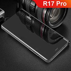 Custodia Portafoglio In Pelle Cover con Supporto Laterale Specchio Cover per Oppo R17 Pro Nero