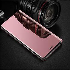 Custodia Portafoglio In Pelle Cover con Supporto Laterale Specchio Cover per Oppo R17 Pro Oro Rosa