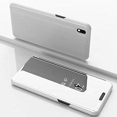 Custodia Portafoglio In Pelle Cover con Supporto Laterale Specchio Cover per Samsung Galaxy A10 Argento