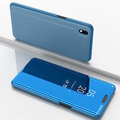 Custodia Portafoglio In Pelle Cover con Supporto Laterale Specchio Cover per Samsung Galaxy A10 Blu