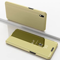 Custodia Portafoglio In Pelle Cover con Supporto Laterale Specchio Cover per Samsung Galaxy A10 Oro